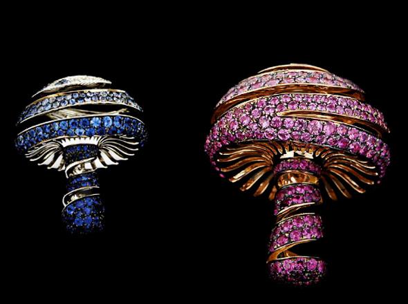 memoria flash USB de lujo con diamantes en  forma de hongo - Diseño de Joyería