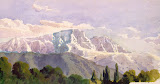 Mountain Settlement. Study by Luigi Premazzi - Landscape Drawings from Hermitage Museum