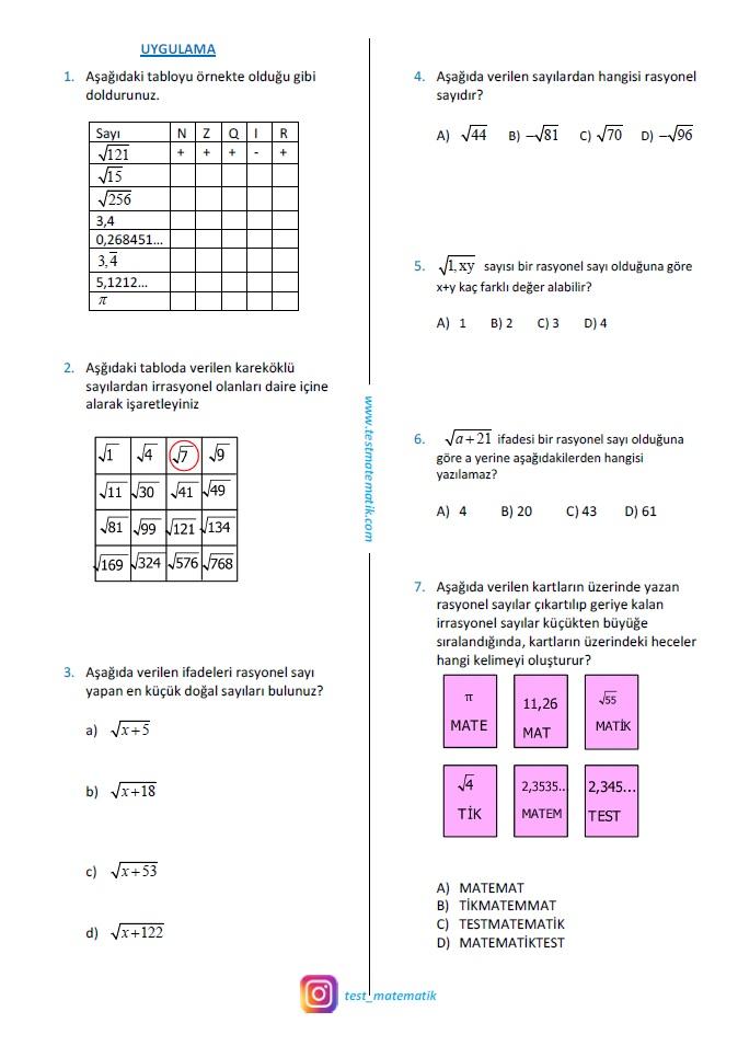 8 Sinif Gercek Sayilar Calisma Kagidi Test Matematik
