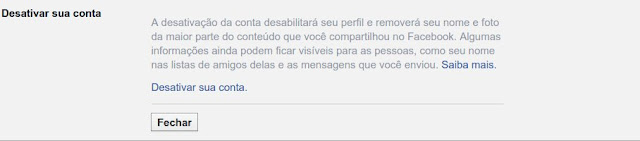 Desativar conta do Facebook