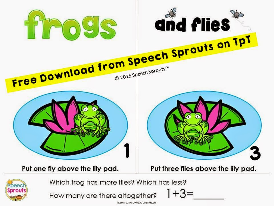 Math Concepts Freebie: Frogs and Flies www.speechsproutstherapy.com
