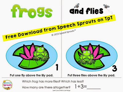 Quantity Concepts for Spring: Frogs and Flies www.speechsproutstherapy.com