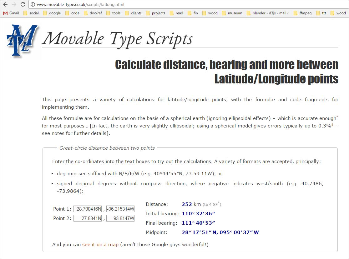 Calculate distance and bearing between two LatitudeLongitude