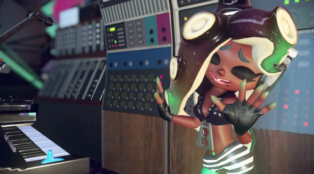 Splatoon 2 Marina Octoling Off the Hook black zipper bra dancing singing hands gloves eyes closed