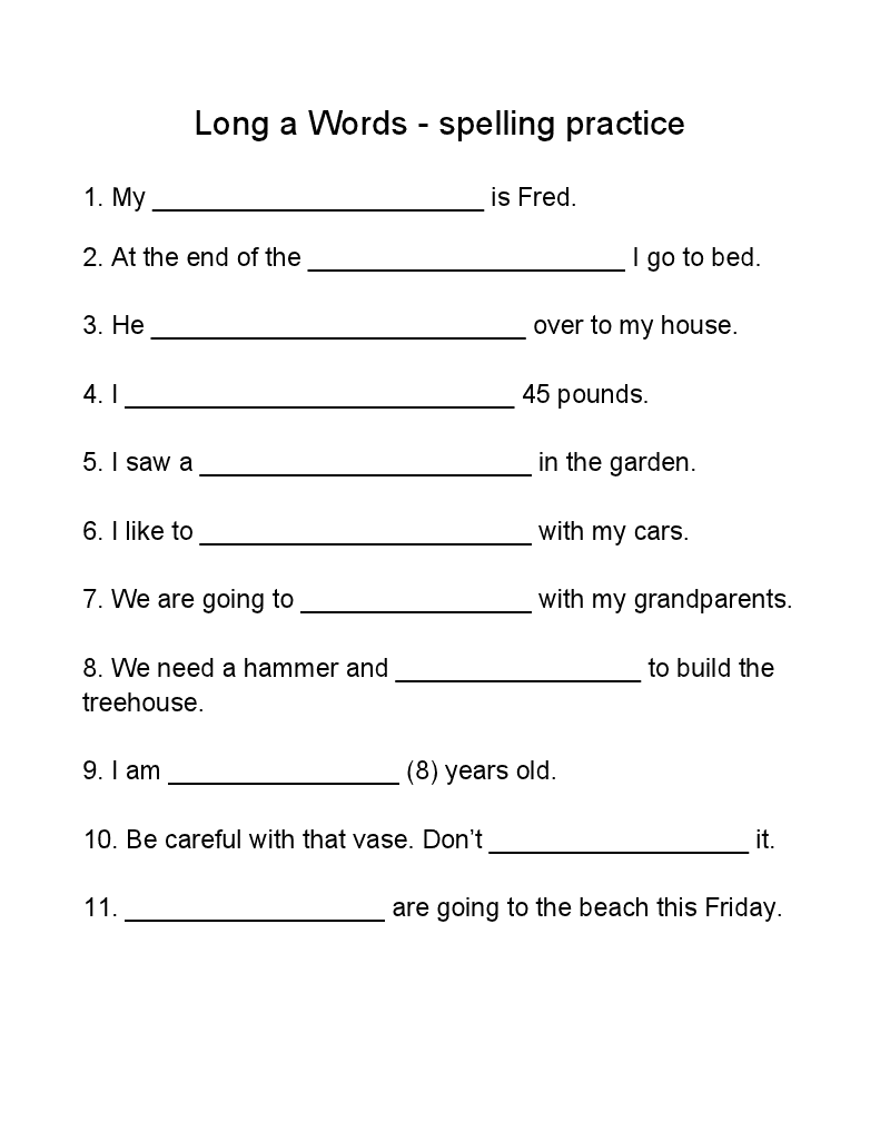 Long A Words — Worksheet - Homeschool Den