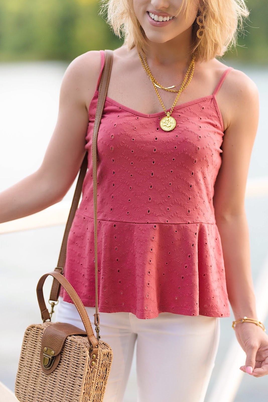 Summer Style: Under $60 Eyelet Peplum Cami - Something Delightful Blog