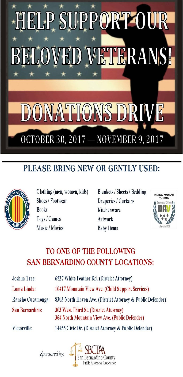 San bernardino county district attorneys office 2017 the san bernardino county public attorneys association sbcpaa will once again host a donations drive to benefit the vietnam veterans association vva aiddatafo Gallery