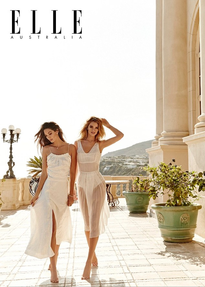 Lily Aldridge & Rosie Huntington-Whiteley pose in ELLE Australia's June issue