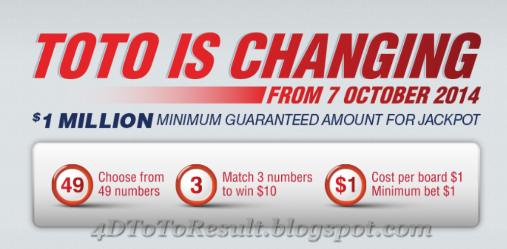 Singapore Pools TOTO Is Changing 07 September 2014 | 4D
