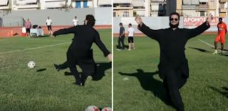 Παπάς σκοράρει με πέναλτι σε αγιασμό ομάδας στο Ναύπλιο και πανηγυρίζει έξαλλα κλέβοντας την παράσταση