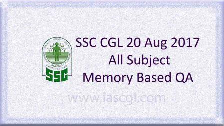 SSC CGLE 20 Aug 2017 All Subject, QA