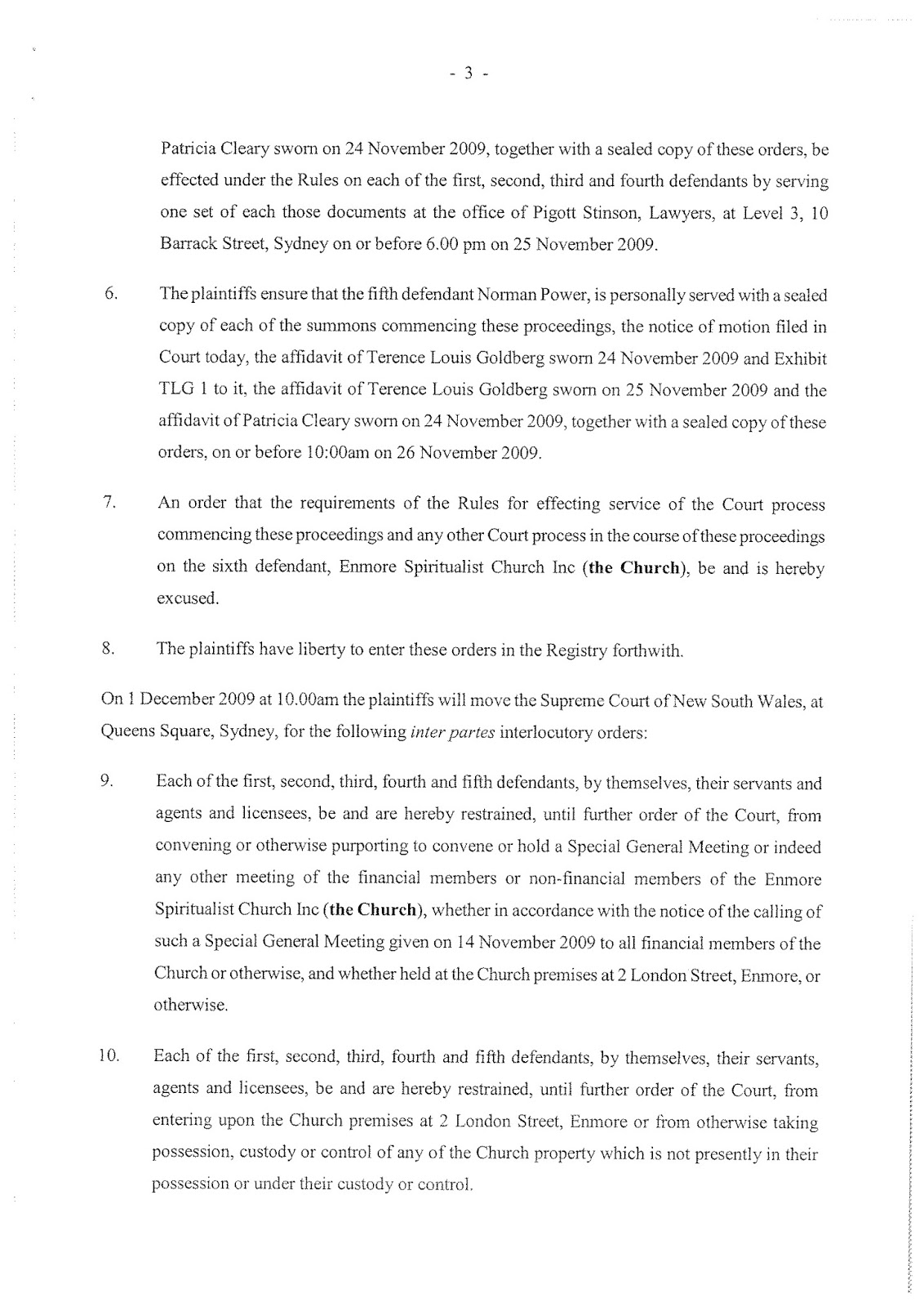 Notice of Motion in relation to proceedings 2009/00291458-001 (then 5454/2009)