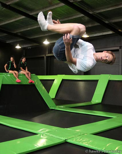 Zirk Engelbrecht from Havelock North bounces his way through the new Flip Out Trampoline Arena in Hastings. photograph