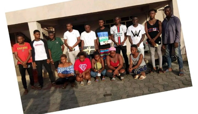 Arrested yahoo boys and girls in Rivers state