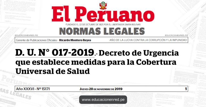 D. U. Nº 017-2019 - Decreto de Urgencia que establece medidas para la Cobertura Universal de Salud