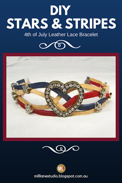 Inspiration sheet for Stars and Stripes bracelet made from leather lace in red, white and blue.