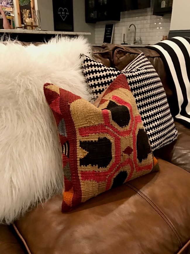 Life Love Larson Leather Sofas Kilim Throw Pillows