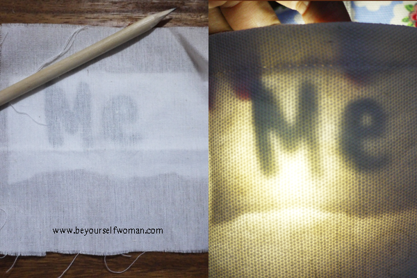 mentransfer huruf di kain