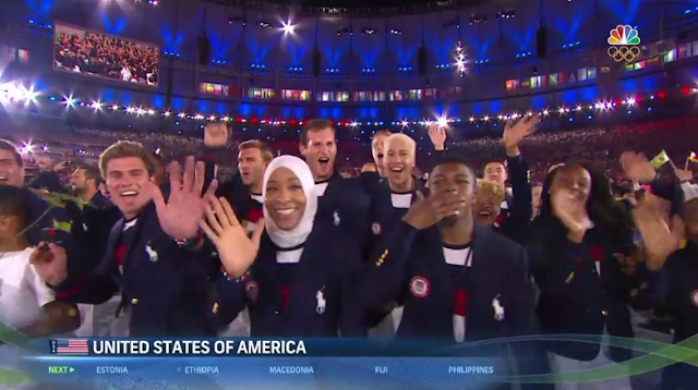 United States of America flag delegation hijab Muslim woman athlete Rio 2016 Olympics Opening Ceremony