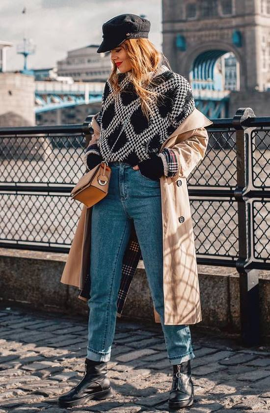 fall outfit idea to try right now | boyfriend jeans + boots + hat + sweater + beige coat