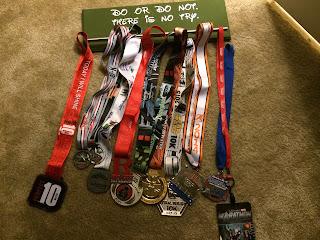 All of my runDisney running medals!