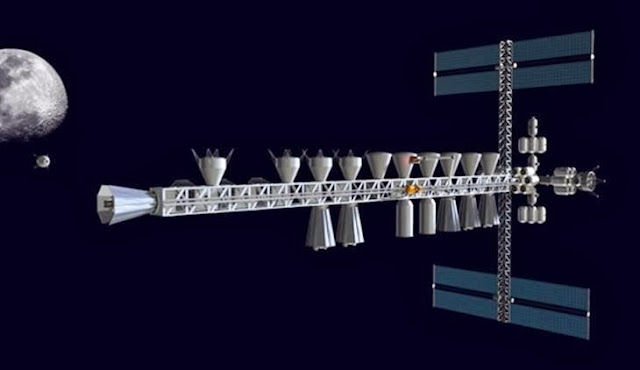 This artist's conception shows a completed way station or logistics base at the Earth-moon L1 point, with most of the vehicles for a Mars expedition docked along the 600-foot-long truss, along with lunar tankers bringing fuel for the expedition from a robotically operated lunar polar mining base. About 1,000 tons of propellant are stored in the cryogenic propellant depots docked below the truss. The vehicles would fuel up to transfer cargo and crew between L1 and Martian orbit. Credit: John K. Strickland