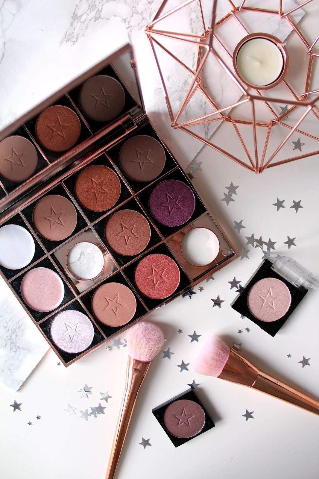 makeup obsession, custom palette, what's in my makeup obsession palette, swatches, reviews, highlight powder, strobe cream, eyeshadows, contour powder