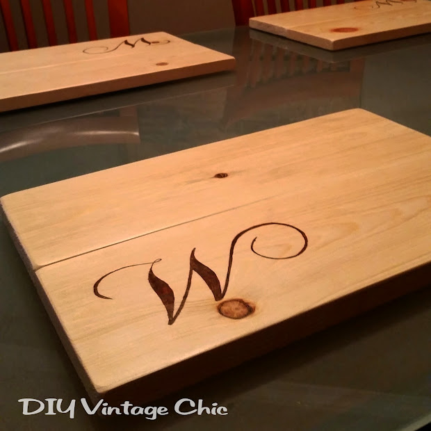Diy Vintage Chic Custom Monogram Wooden Placemats