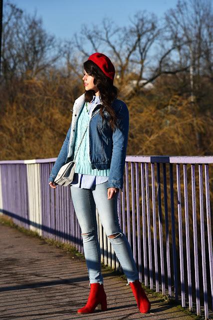 красный берет, total jeans look