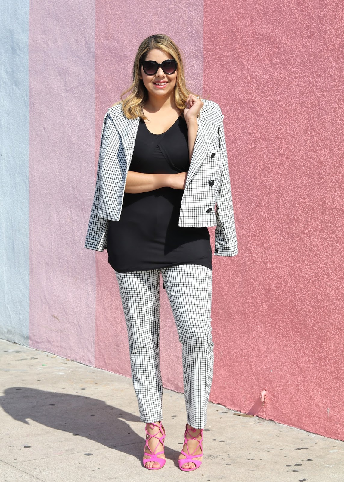 grid suit, women's windowpane suit, women's black and white grid suit, socal fashion blogger, fashionable suit for women
