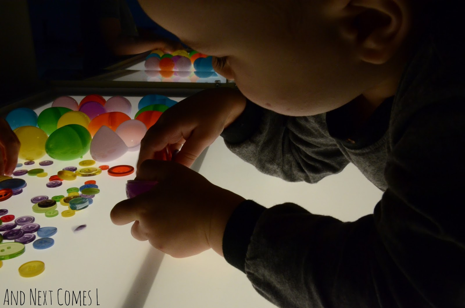 Easter light table idea for preschool and toddlers