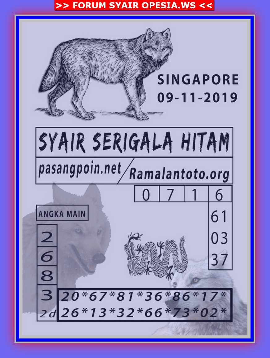 Kode syair Singapore Sabtu 9 November 2019 18