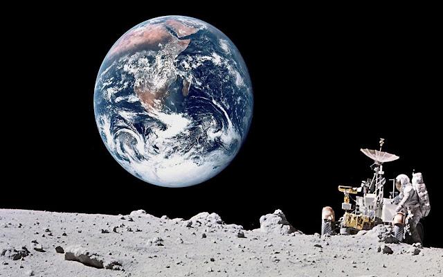 Imagem falsa de homem na Lua com uma Terra feita em Photoshop