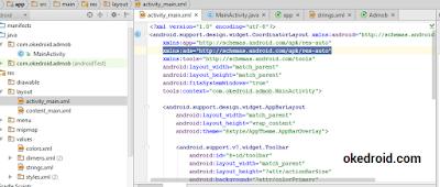Menyematkan baris perintah di activity_main.xml