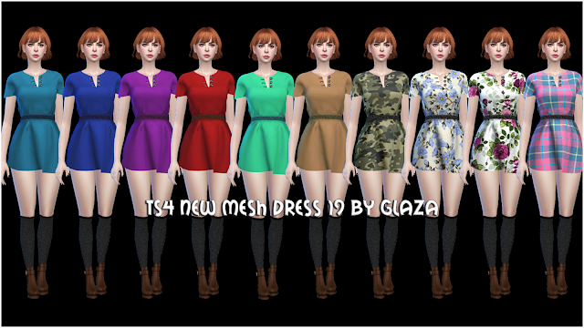 TS4 NEW MESH DRESS 19 BY GLAZA