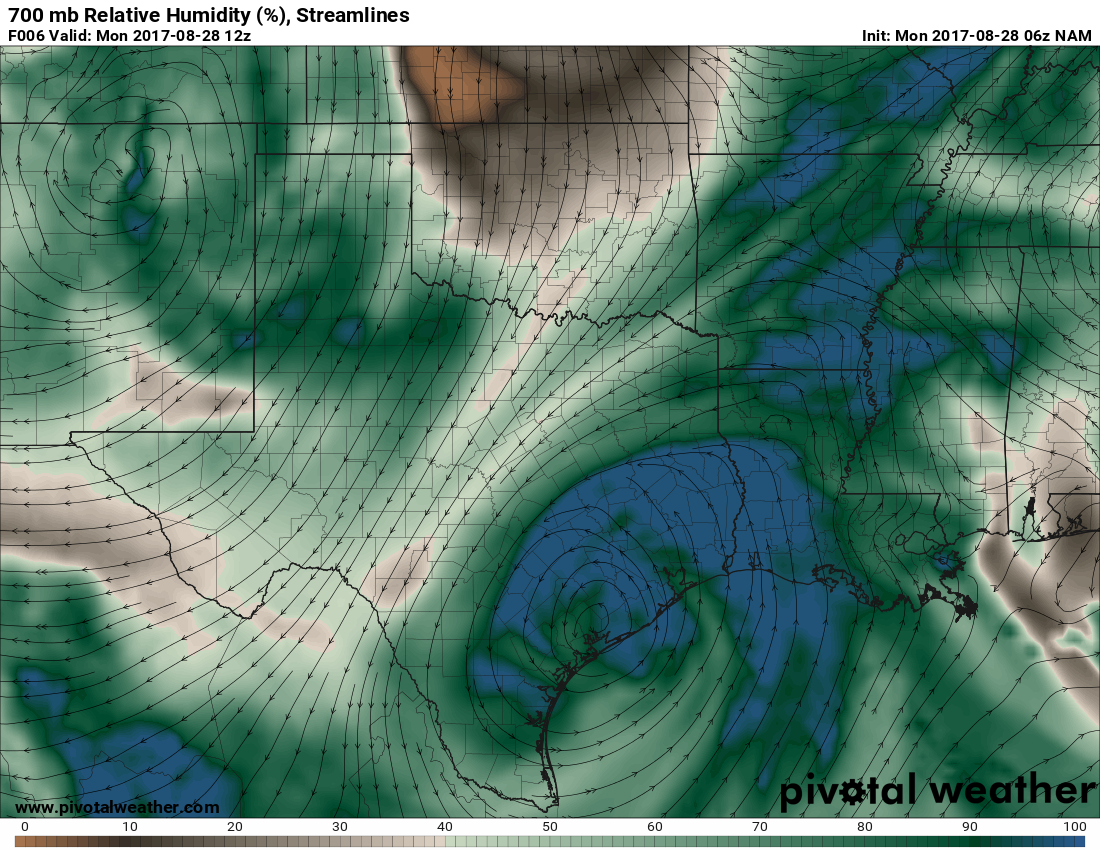 these bands are due to a fetch of moisture the storm allows to come in off the gulf the image below shows how the storm circulation causes this moisture