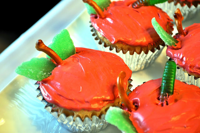 Very Hungry Caterpillar Party food, apple cupcakes