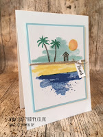 This image shows a colourful handmade beach card created with the Waterfront stamp set by Stampin' Up!