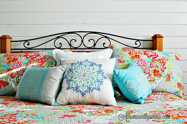 flower pillow covers, white pillow covers, blue pillows, floral bedspread Summer decorating