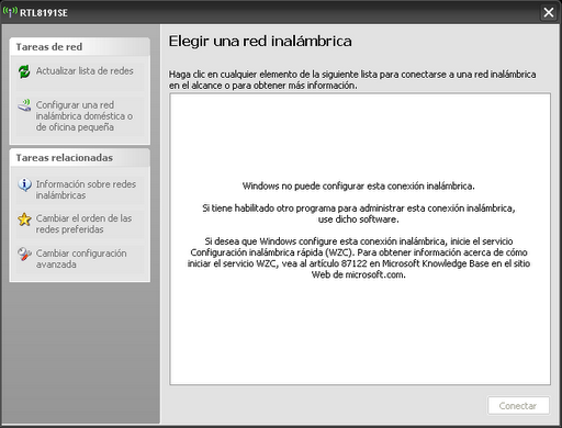 Configuración inalámbrica WZC en Windows XP