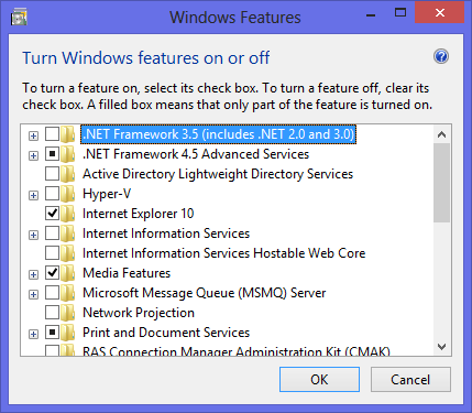 .NET Framework 3.5 on Windows 8 Features