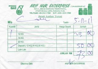 gambar resit harga tong gas kosong RM 50