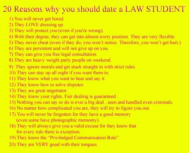 what to expect when dating a law student