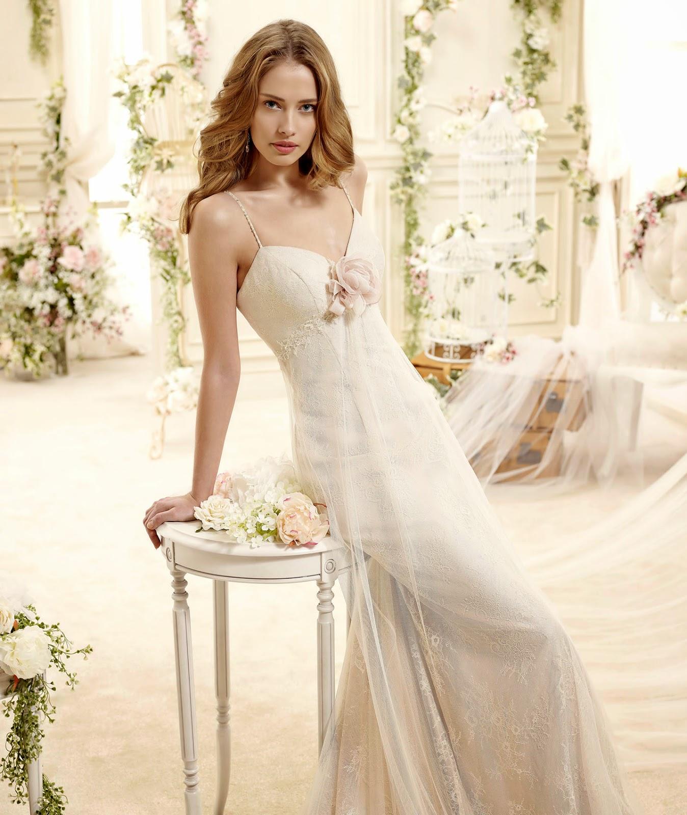abiti da sposa 2015 Colet in stile impero, romantici per nozze shabby chic