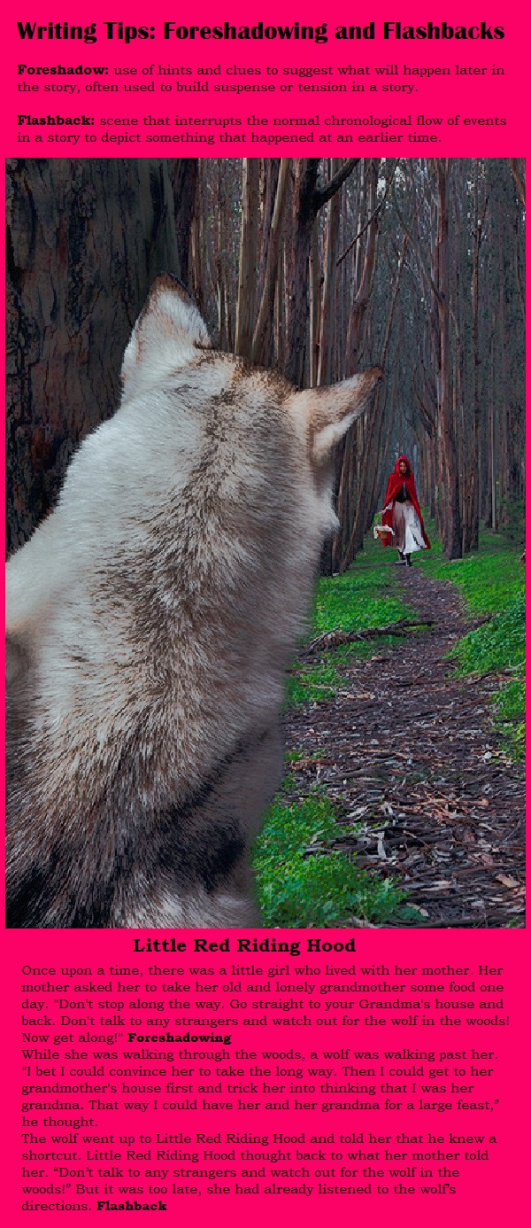 Writing Tips: Foreshadowing and Flashbacks. Little Red Riding Hood Example. #Writing #scenes #tips #hints #relatable