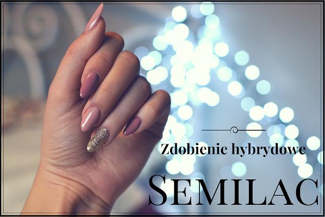 Paznokcie hybrydowe SEMILAC - Brudny Róż i Złoto