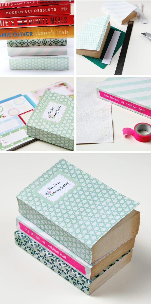 How To Make A Book Cover Out Of Construction Paper : Diy scrapbook paper book covers gathering beauty