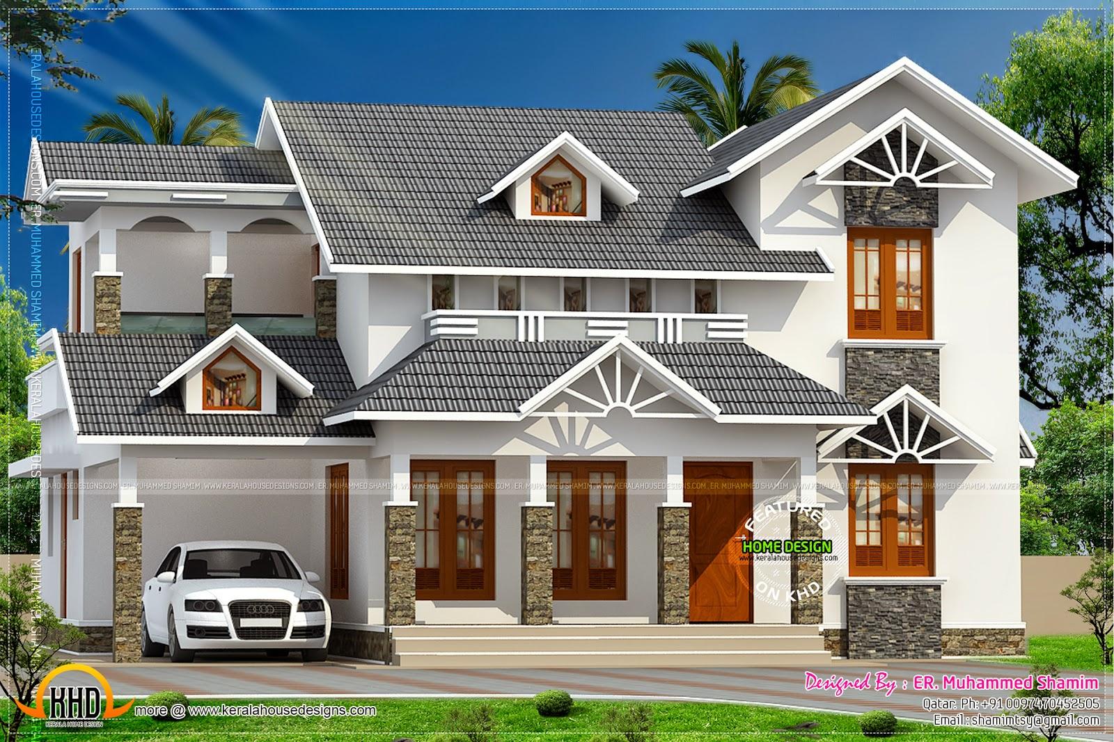 Nice Sloped Roof Kerala Home Design
