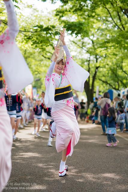 紅連、小金井子供フェスタでの阿波踊り、、女踊りの彩香さん
