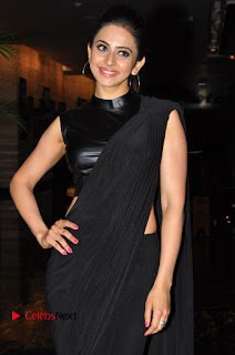 Actress Rakul Preet Singh Stills in Black Saree at Rayudu Movie Audio Launch 0010